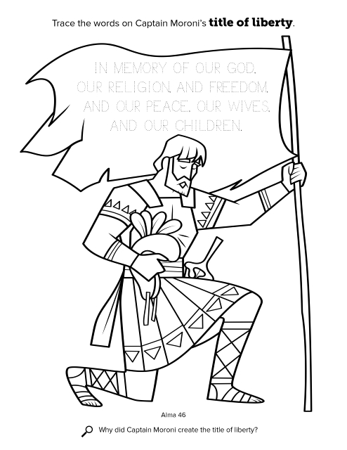 Lds Coloring Pages Pdf : Moroni s title of liberty