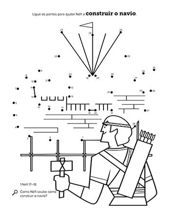 Atividade em preto e branco de ligar os pontos que mostra Néfi construindo um navio.