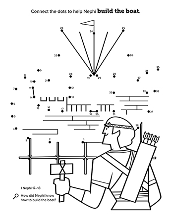 A black-and-white connect-the-dots activity showing Nephi building a boat.