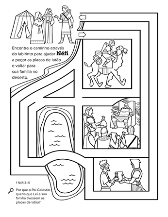Um labirinto em preto e branco que representa a jornada de Néfi para conseguir as placas de latão.