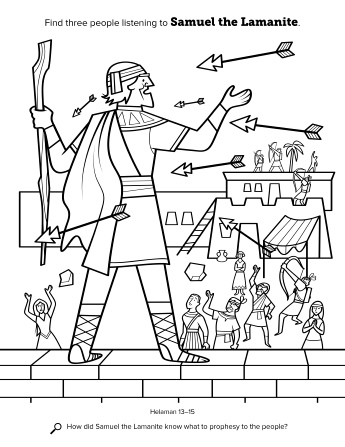 A line drawing of Samuel the Lamanite being shot at with arrows.