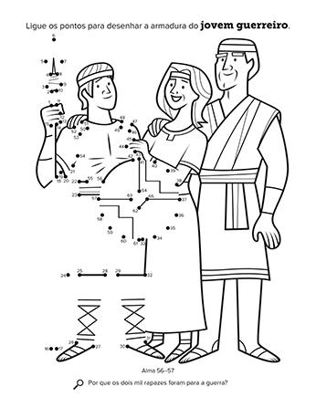 Atividade de ligar os pontos que mostra um jovem guerreiro com seus pais.