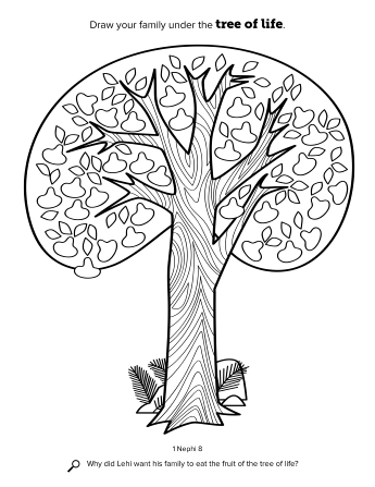 A line drawing of the tree of life from Lehi's dream.