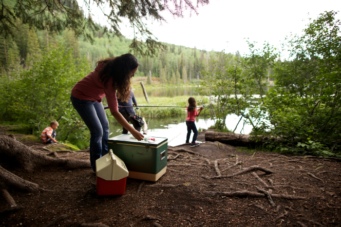A mother prepares a fishing line by a cooler while the father and two children start to fish over at a lake.