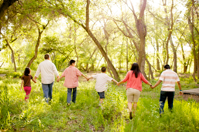 A mother and father hold hands with their four children while walking together in the trees.