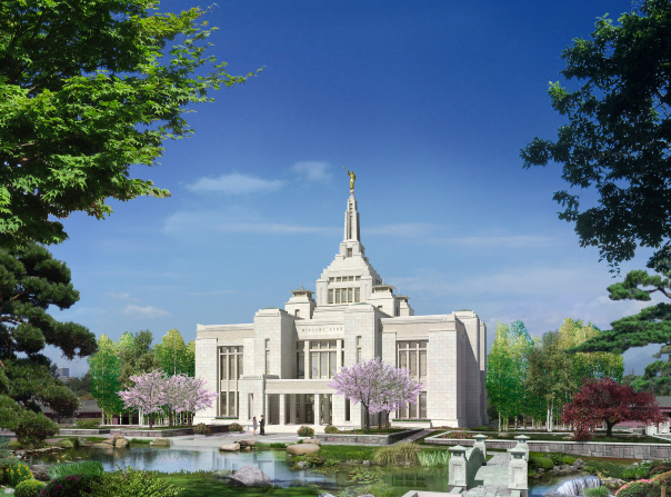 An artist's computer-generated rendering of the Sapporo Japan Temple on a sunny day.