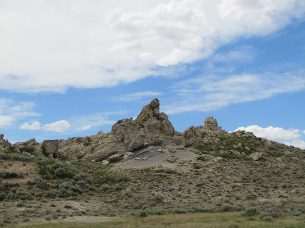 Hills with lots of rocks piled on top of each other in Wyoming.