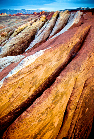 White, yellow, and orange rocks in Valley of Fire State Park in Nevada.