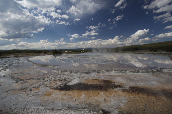 Steam comes off water at Yellowstone National Park, with trees on the far side.