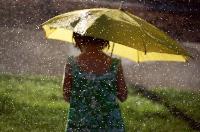 A little girl in a dress holds a yellow umbrella above her head in the rain.