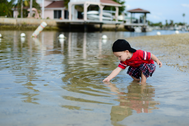 A toddler boy stands in water and reaches his hand into it, with a dock in the background.