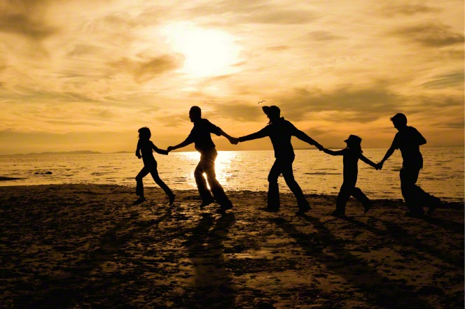 A silhouette of a family of five all holding hands and walking in a line along the shore.