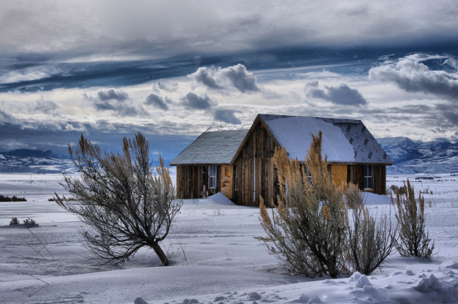 A cabin in a snow-covered field, with bushes around it and clouds in the blue sky.