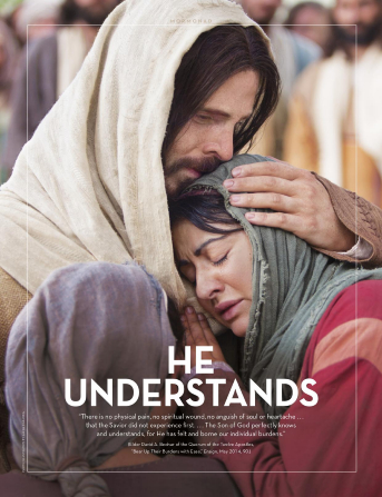 "An image of Christ comforting Mary and Martha, paired with the words ""He Understands."""