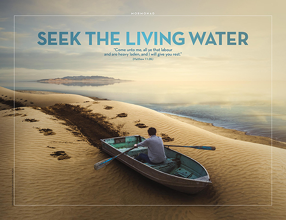 "An image of a young man trying to row a boat on a sandy beach, combined with the words ""Seek the Living Water."""
