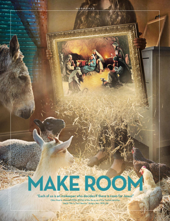"""An image of a girl holding a painting of the Nativity with barn animals gathered around, paired with the words """"Make Room."""""""