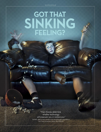 "An image of a young man being absorbed by a couch, paired with the words ""Got That Sinking Feeling?"""