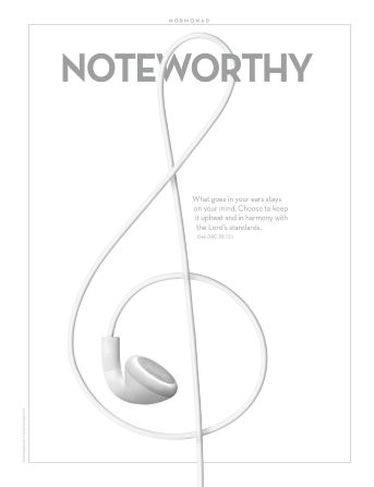 "An image of earbud-style headphones in the shape of a music symbol, paired with the word ""Noteworthy."""