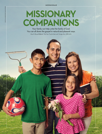 "An image of a family of four, paired with the words ""Missionary Companions."""