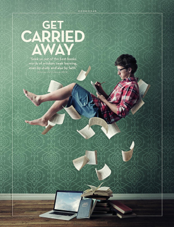 "An image of a young man floating in the air amid the pages of a book, combined with the words ""Get Carried Away."""