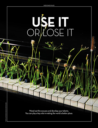 "An image of weeds growing on the keys of a piano, combined with the words ""Use It or Lose It."""