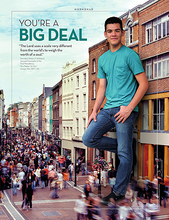 """An image of a young man standing as tall as the buildings around him, combined with the words """"You're a Big Deal."""""""