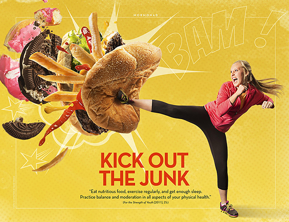 "An image of a girl in exercise clothing kicking a stack of junk foods, combined with the words ""Kick Out the Junk."""