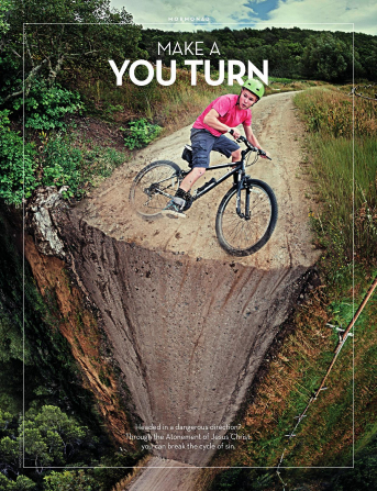 "An image of a young man on a bicycle at the edge of a cliff, combined with the words ""Make a You Turn."""