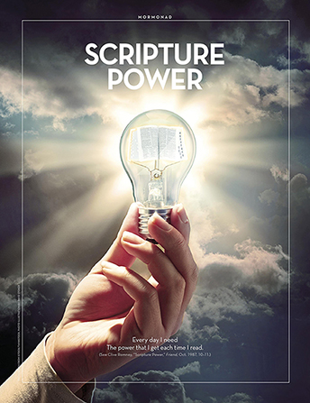 "An image of a hand holding a lightbulb with a set of scriptures inside it, combined with the words ""Scripture Power."""