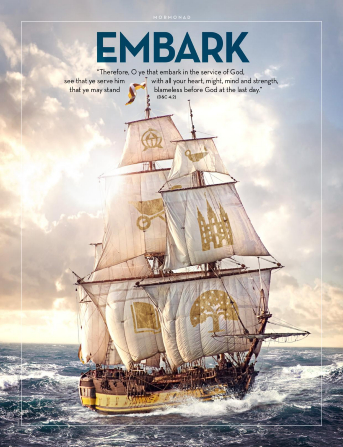 "An image of a large ship with gospel symbols on the sails, paired with the word ""Embark."""