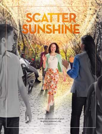 "An image of a girl smiling at people she is passing on the street, combined with the words ""Scatter Sunshine."""