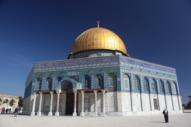 The golden, white, and blue Dome of the Rock on the Temple Mount in Jerusalem.