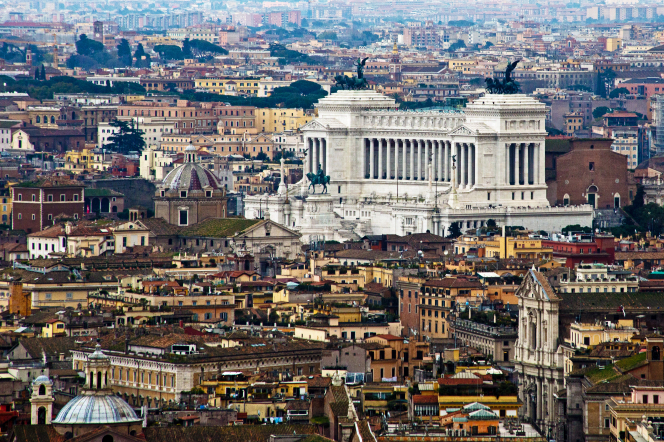 An aerial view of the large, white Victor Emmanuel monument in Rome, Italy.