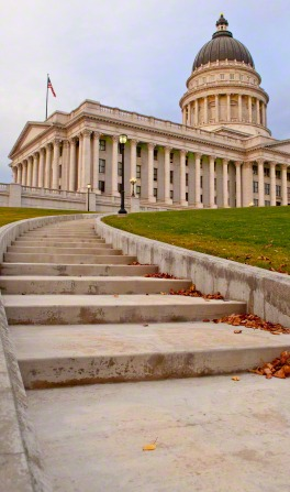 A view of steps leading up to the Utah State Capitol in Salt Lake City.