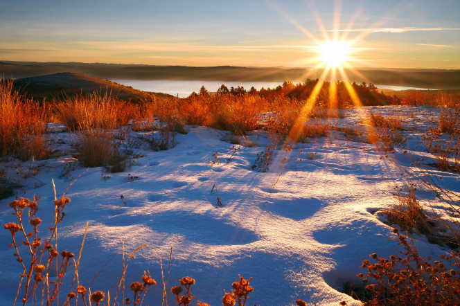 The sun rises over a lake, with weeds poking through snow in the foreground and a hill in the background.