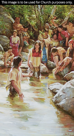 A painting by Walter Rane showing Book of Mormon–era people being baptized by Alma.