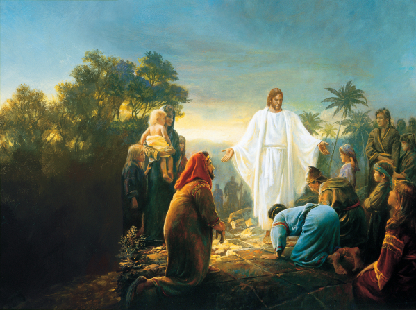 A painting showing Christ visiting the Nephites in the Book of Mormon after His death.