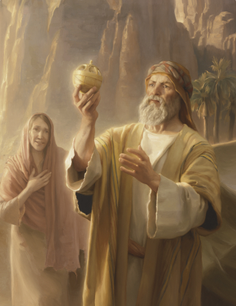 A painting of Lehi holding the Liahona, with his wife, Sariah, looking on.