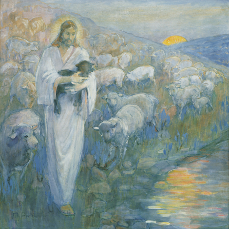 A painting by Minerva K. Teichert of Christ as a shepherd, holding a black sheep, with white sheep following behind.