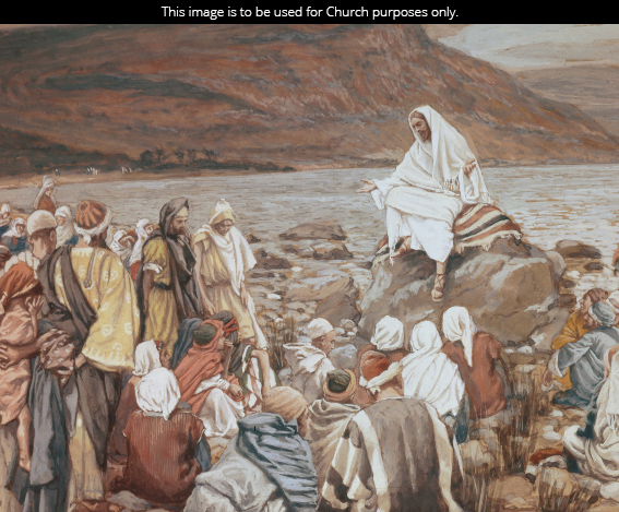 A painting by James Tissot of Christ sitting on a large rock and teaching a multitude.