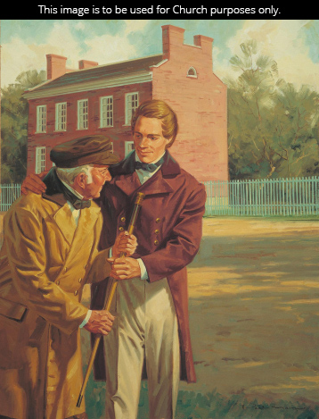 A painting by Paul Mann of Joseph Smith giving a cane to an elderly man.