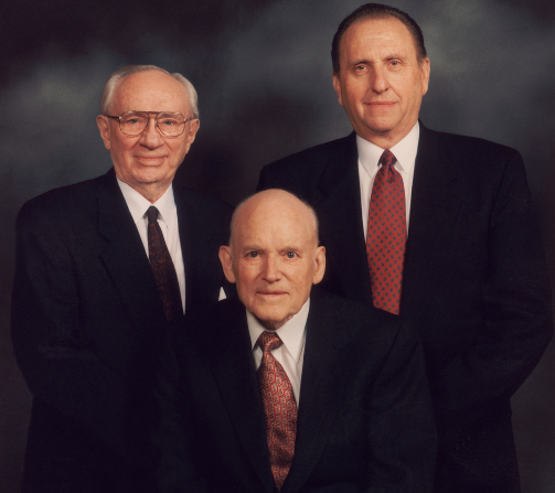 The First Presidency in 1994: President Howard W. Hunter in the center with his counselors, President Gordon B. Hinckley and President Thomas S. Monson, on either side of him.