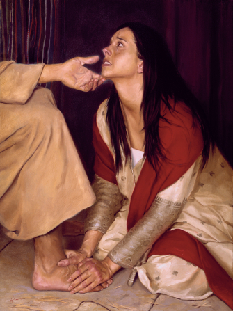 A painting by Jeff Hein of a woman in a white dress and red scarf kneeling at Christ's feet.
