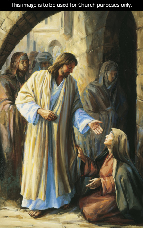 A painting by Judith Mehr of a woman kneeling at Christ's feet and touching His garment as He reaches down toward her.