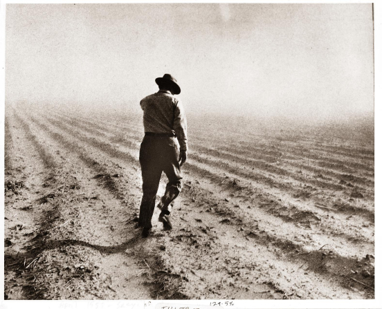 Ezra Taft Benson walking and inspecting a field during a drought, wearing a hat, a long-sleeved shirt, pants, and boots.