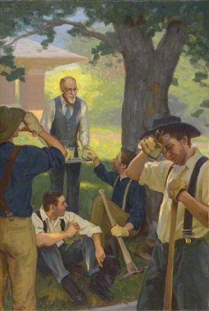 A painting of President George Albert Smith serving lemonade to workers sitting and standing in the shade of a tree outside his home on a hot day.