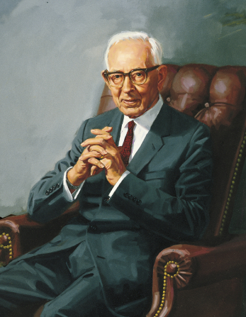 A painted portrait by Shauna Clinger of Joseph Fielding Smith in a blue suit and red tie, sitting in a leather chair.