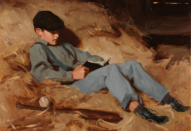 A painting of Joseph Fielding Smith as a young boy reading from the Book of Mormon while sitting in his family's hayloft.