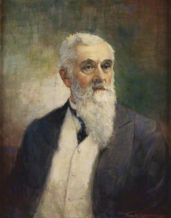 A painting of the prophet Lorenzo Snow in a white vest, dark suit, and long beard, by John Willard Clawson, dated 1936.