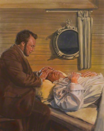 Elder Snow giving a blessing to an injured man lying in bed on the ship Swanton.